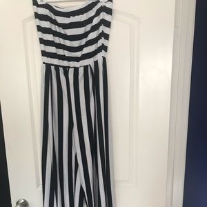 Red dolls striped jumpsuit 1x